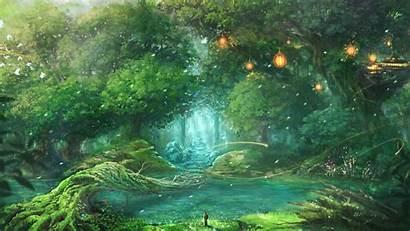 Fantasy Landscape Artwork Trees Lantern Desktop Wallpapers