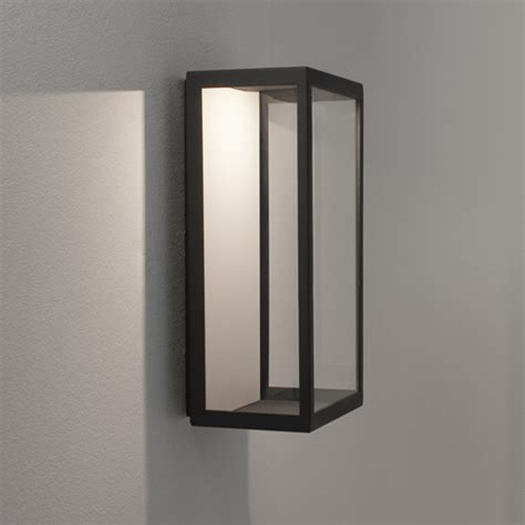 astro paros frosted ip44 outdoor flush wall light black