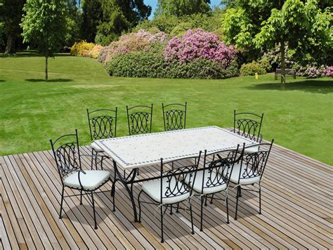 table de jardin ceramique et fer forge salon de jardin la redoute promo salon de jardin s garden table 200cm 8 places style