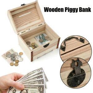 wooden piggy bank money box savings  lock wood carving