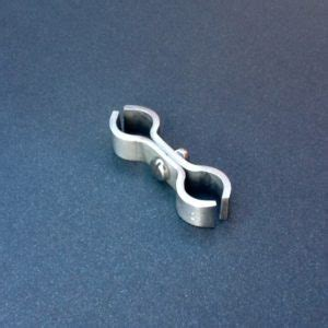 stainless steel double pipe support clamp mm ports mm  mm