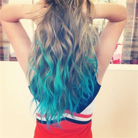 Blue Dip Dye Hair Blue Dip Dyed Hair Amazing Blonde Teal