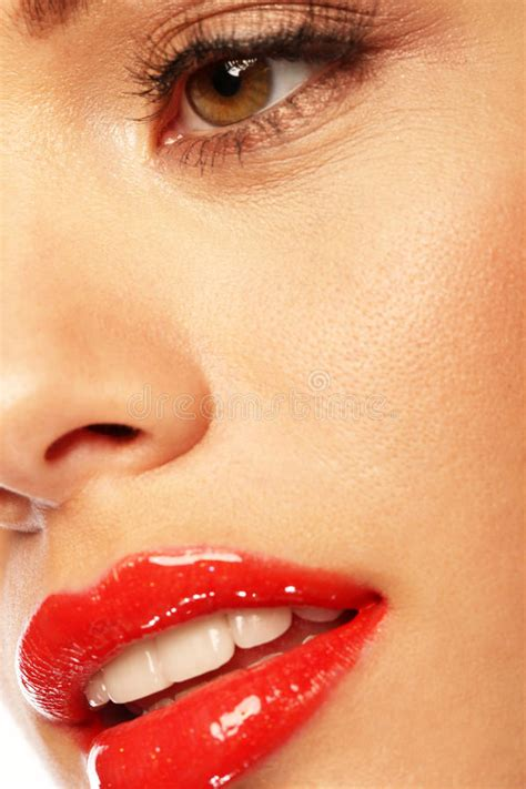 glossy red lips stock photo image  lipstick iris