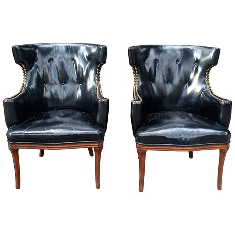 pair of leather wingback chairs at 1stdibs