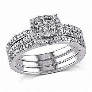 035ctw diamond engagement ring and wedding band 10k white With 10k gold ring wedding band