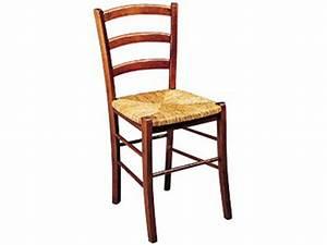 Chaise en hêtre massif et avec assise en paille PAYSANNE coloris teinté foncé Vente de Chaise
