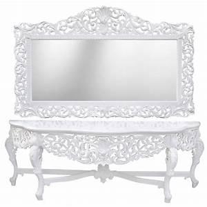 Miroir Blanc Baroque : enorme console avec miroir de style baroque en bois laqu blanc et grand miroir ~ Teatrodelosmanantiales.com Idées de Décoration