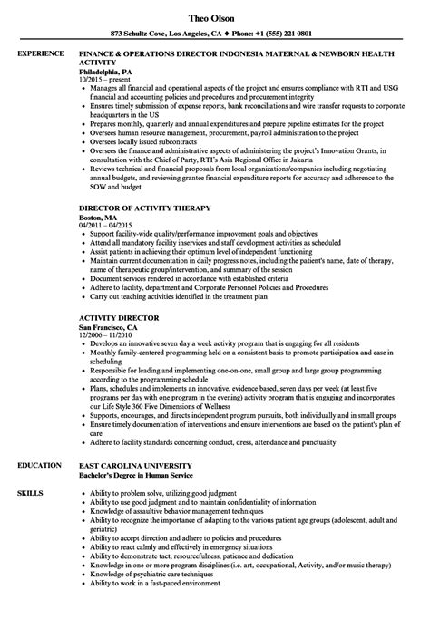 resume objectives for activities director activity director resume sles velvet