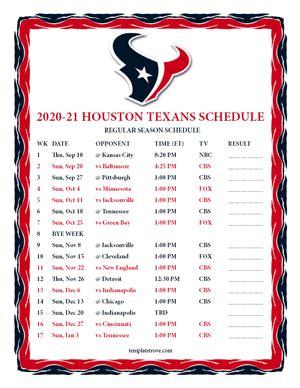printable   houston texans schedule