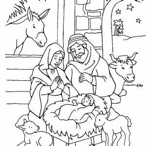 jesus in the manger coloring page - jesus is born in a manger in nativity coloring page