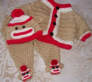 monkey boy baby shower crochet sock monkey sweater set and layette