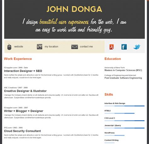 Free Wordpress Resume Theme Create An Online Resume In