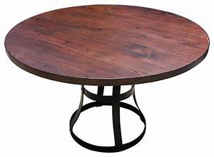 Round Detroit Dining Table With Metal Base - Industrial