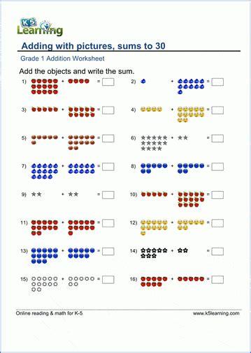 grade math worksheets  learning