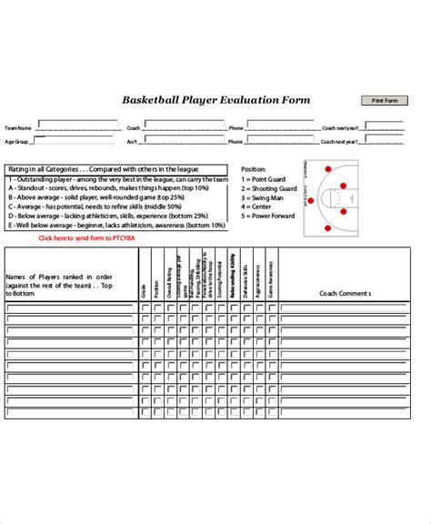 basketball player evaluation form pdf sle basketball evaluation form 10 exles in word pdf