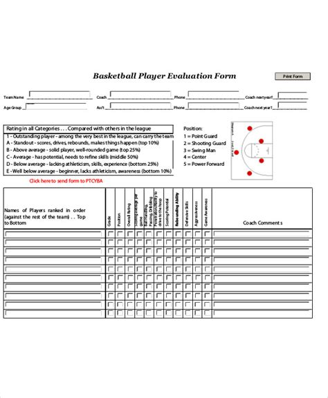 Football Player Evaluation Form