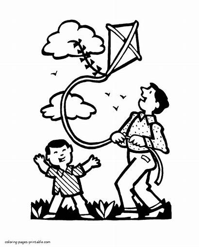 Coloring Pages Spring Outdoor Activities Printable Seasons