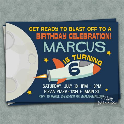Outer Space Birthday  Ee  Invitations Ee   Nifty Printables