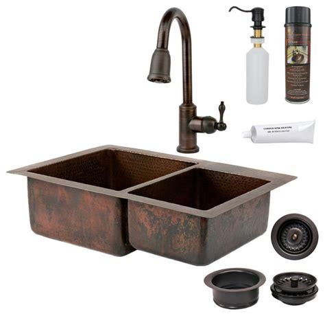 "33"" Copper Kitchen 6040 Sink W Orb Faucet  Rustic"