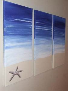 Blue Beach Starfish - Original Seascape Canvas Painting by ...