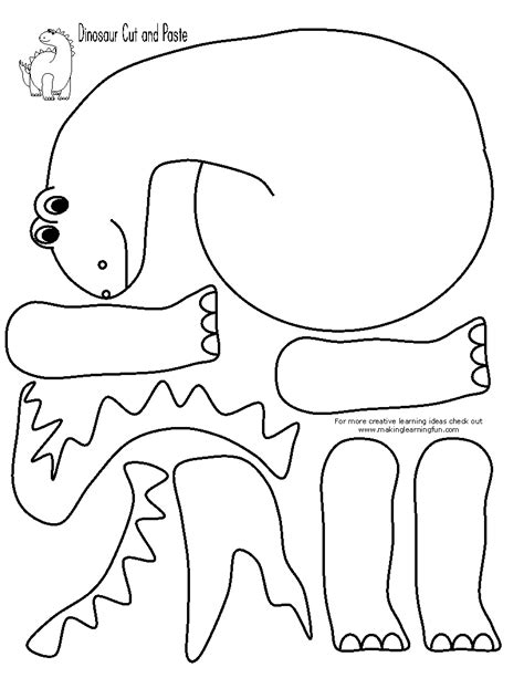 free coloring pages of dinosaur cut and paste