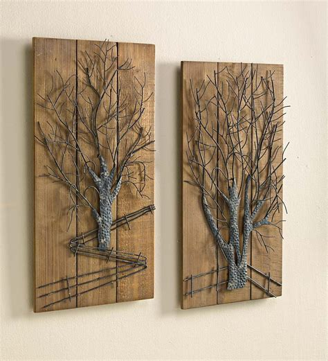 metal and wood wall decor wall designs metal and wood wall metal tree on wooden wall set of 2 metal and