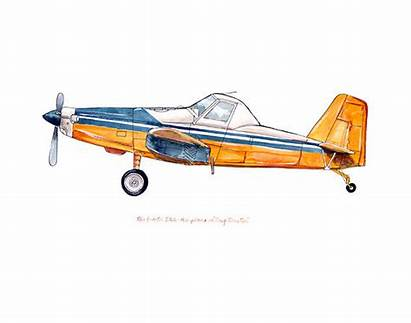Duster Tractor Air Airplane Classic Watercolor Clipart