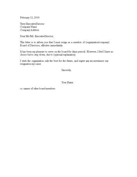 Resignation letter From a Volunteer Board | Templates at allbusinesstemplates.com