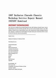 1987 Daihatsu Charade Chassis Workshop Service Repair Manual By Hnjhhnj