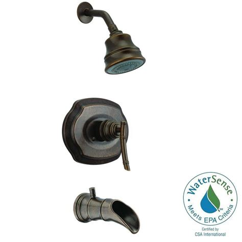 Pegasus Bamboo Faucet Heritage Bronze by Pegasus Bamboo Watersense Single Handle 3 Spray Tub And