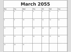March 2055 Printable Monthly Calendar
