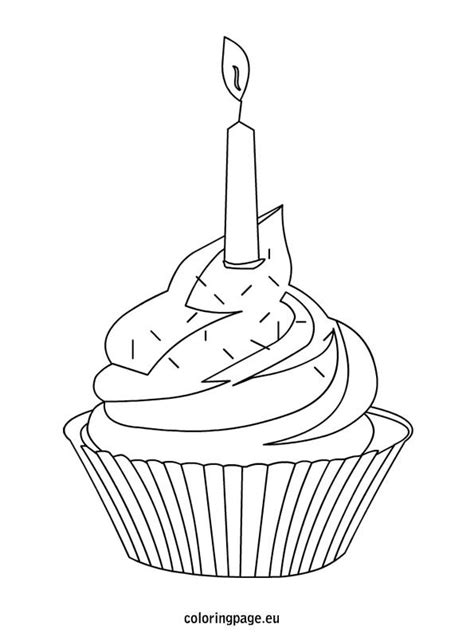 cupcake  colorful sprinkles  candle coloring page