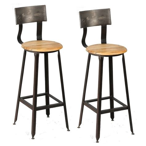 chaise bar bois tabourets de bar en bois et metal avec dossier moins cher
