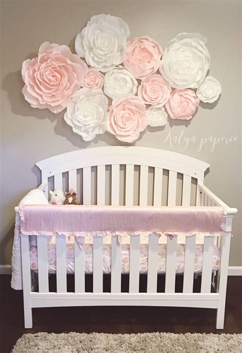 blush nursery wall paper flowers paper flower wall