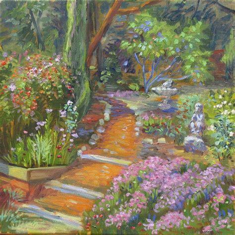 secret garden landscape california impressionism oil