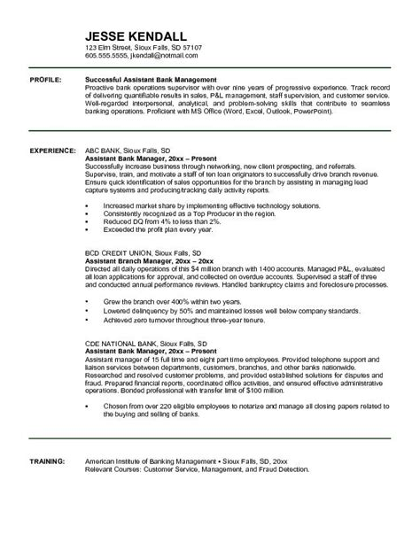exle assistant bank manager resume free sle