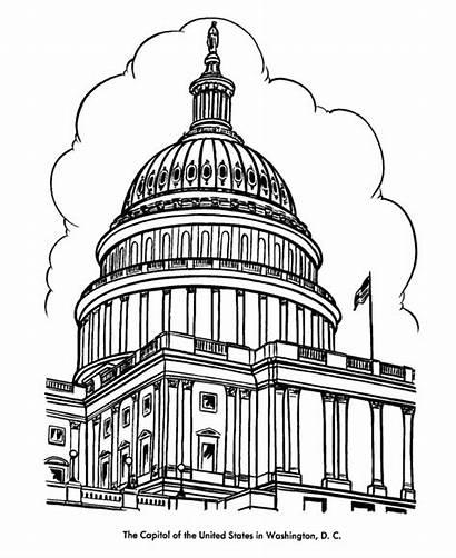 Coloring Buildings Capitol Dome Building Pages Washington