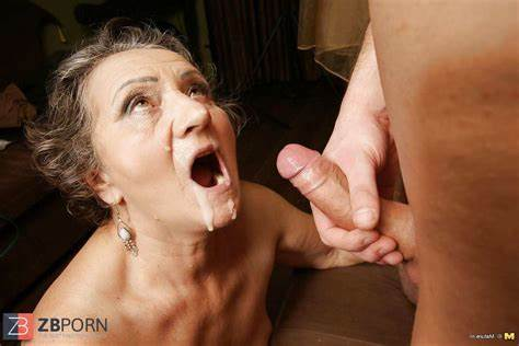 Grey Haired Milf Takes A Load To The Face
