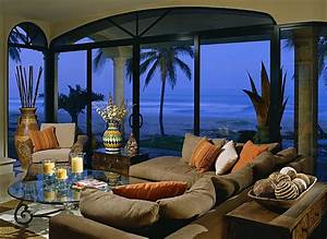 Tropical, Themed, Living, Room, Is, Filled, With, Grey, Pillow