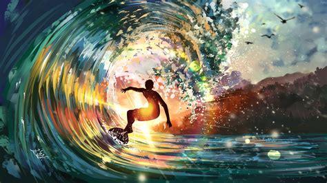 Wallpaper ID: 141586 / waves, sea, digital art, artwork ...