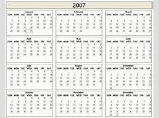 2007 Printable Calendar » Calendar Template 2018