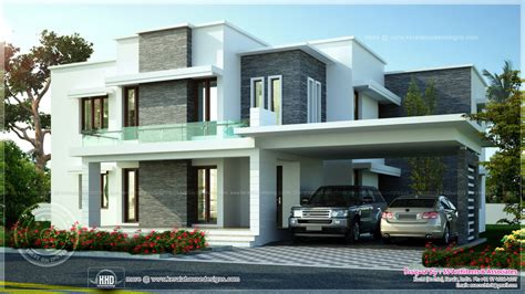 3600 sq-ft contemporary villa exterior elevation - Kerala