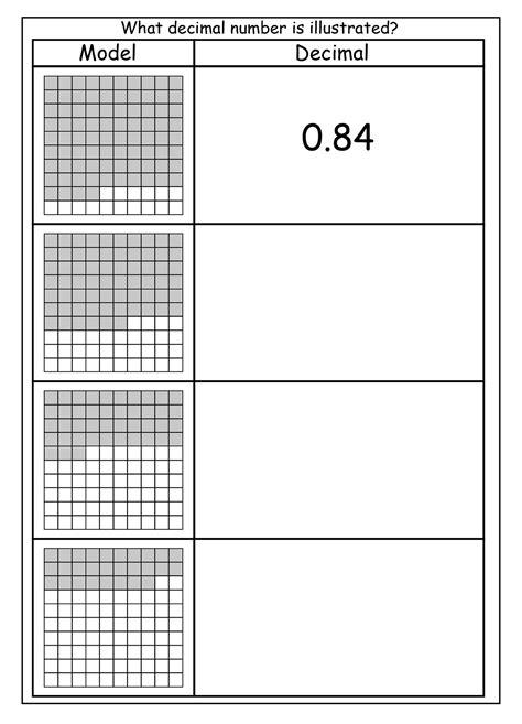 tenths  hundredths worksheets activity shelter