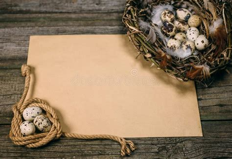 Free packaging and box mockups. Old Paper With Quail Eggs Inside Of Little Basket On ...
