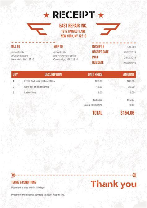 receipt templates print email receipts
