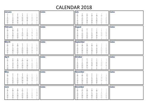 calendar excel notes printable