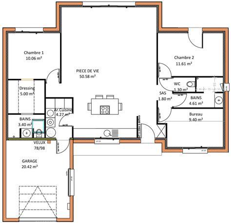 Plan Maison 2 Chambres - plan maison 6 chambres plain pied plan intrieure plan