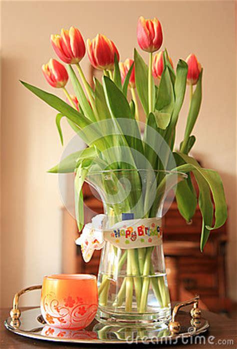 happy birthday stickers shape tulip tulip bouquet with happy birthday wish royalty free stock photography image 24652887