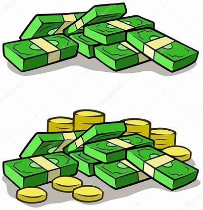 Money Cartoon Stack Cash Vector Coins Piles