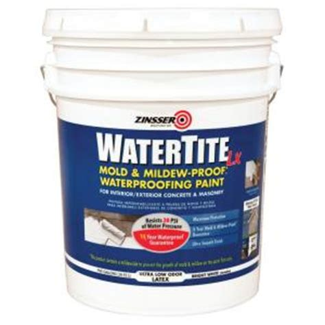 zinsser garage floor paint zinsser watertite 5 gal lx low voc mold and mildew proof white water based waterproofing paint